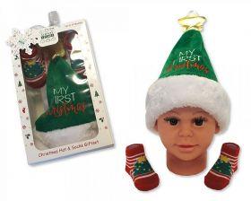 Coffret cadeau Bonnet + chaussette « Mon premier Noël »